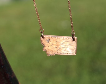 Handmade Copper Montana State Necklace