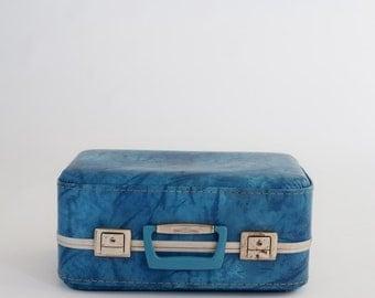 Newborn Prop Vintage Blue Suitcase