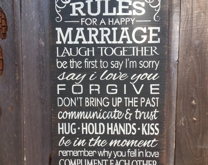 Rules For A Happy Marriage Sign - Anniversary Gift - Marriage Sign - Love - Wedding Gift, ST