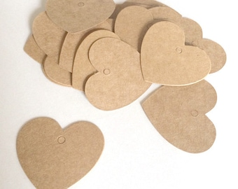 20 blank heart kraft tags  - gift wrapping tags - wedding tags - packaging tags - gift tags - wedding favor tags - brown heart kraft tags