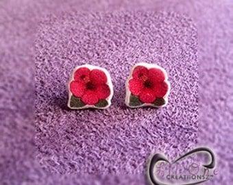 Fun Emoji Blooming Pink Hibiscus Earrings