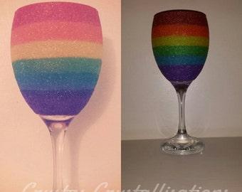 Rainbow Glitter Glass