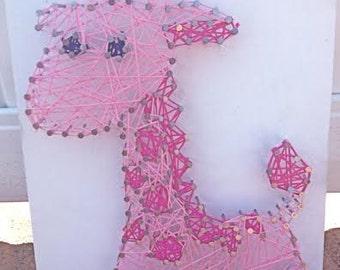 Giraffe String Art, Nursery Decor, Pink