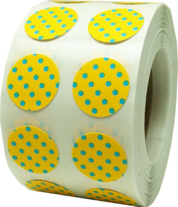 Yellow Stickers With Teal Polka Dots Small Half Inch Round