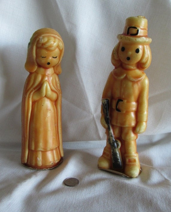 Gurley PILGRIM Candles, 1 Pair Vintage Gurley Male and Female Tavern Candles,  Collectible Candles, Thanksgiving Decor, laslovelies