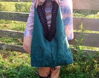 Handmade Shoulder Bag - Repurposed Vintage Fabric - Raised From the Dead