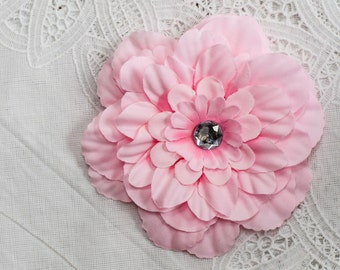 Blushing Pink Flower Hair Clip with Jeweled center