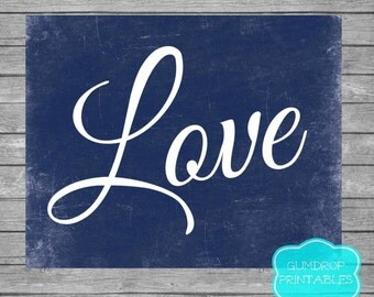 LOVE Wall Art Decor, INSTANT DOWNLOAD, Printable Modern Decor, Nave Blue Wedding Family Room Bedroom