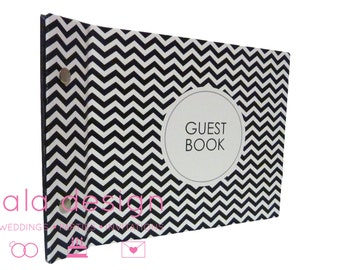 "Guest Book A5 ""Black Chevron"" for Weddings, Engagements, Birthdays"