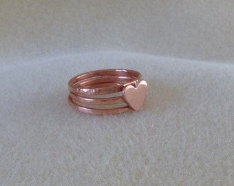 Copper sweetheart triple stacking crafted ring set