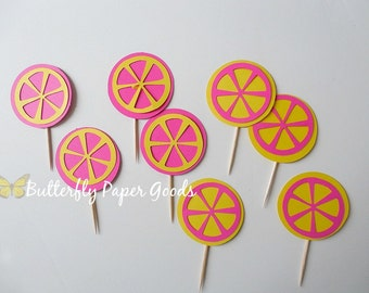 Pink Lemonade Cupcake Toppers- (12) Yellow & Pink