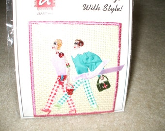 Woven Straw  2 girls walking Embellished Applique, Patch