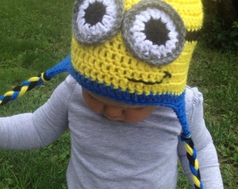 Crochet Minion Hat  newborn to adult sizes available
