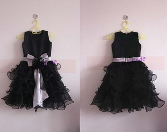 2015 black tulle satin flower girl dresses with bow,simple cheap dress for flower girls,discount cute girls gowns hot.