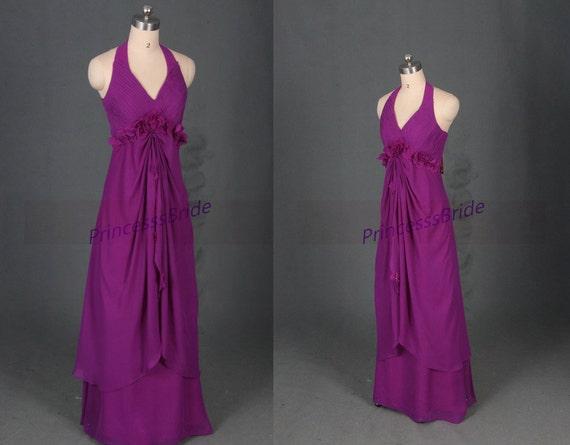Long Purple Chiffon Bridesmaid Dresses With Flowers 2016