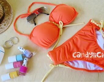 Neon orange corset style front lace up bikini top and side lace up bottom bikini swimsuit swimwear