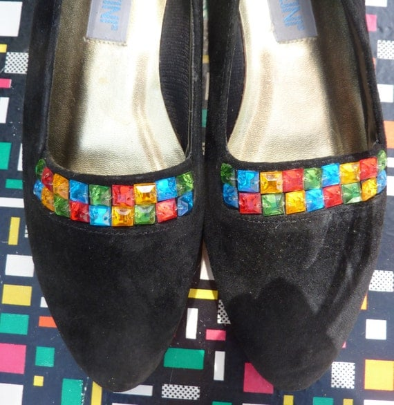 Preppy 80s style black leather Moccasin Shoes by ...