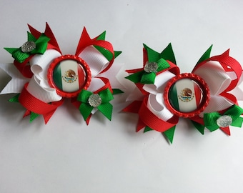 Mexico girls hair bows. Set of 2. Perfect for piggy tails :)