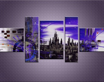 original paiting,abstract painting,city painting,modern canvas painting for home decor,framed,ready to hang,huge 180x70cm