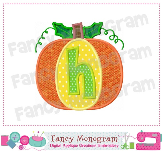 Pumpkin Monogram h Applique