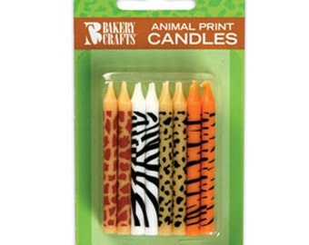 24 Animal Print Birthday Cake Candles Zoo Jungle Safari Toppers Party Supplies