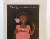 Pregnant woman seated greeting card in Yoruba, Igbo, hausa, shona languages
