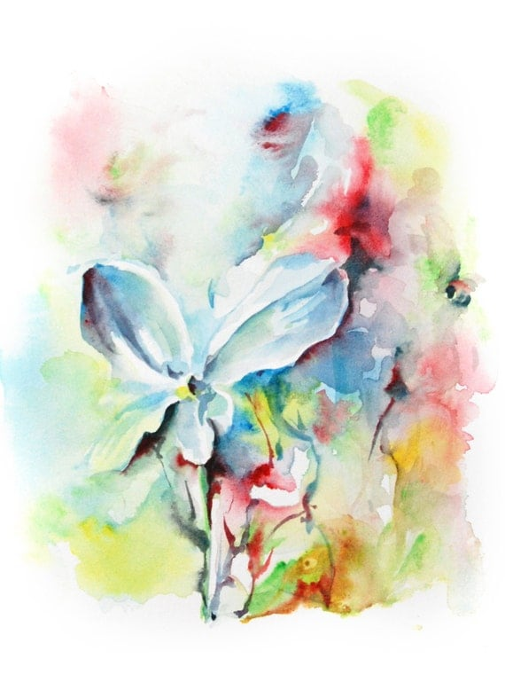 Abstract flowers watercolor painting art print abstract art for Abstract watercolour flowers