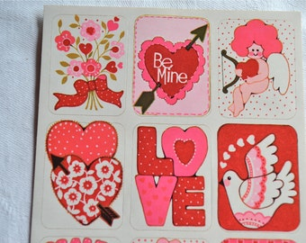Vintage Stickers -  Mod Valentines Day - A Sheet of 9