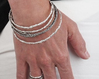 set delicate silver crochet bangles (set of 3)