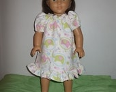 New Pink & Green Elephants Nightgown for American Girl Doll Pajama Clothing 18 in Doll American Girl/Bitty