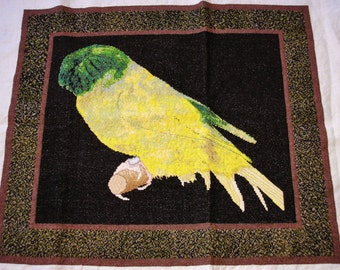 Completed cross stitch Crested Canary