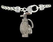 Golf Clubs and Bag Rhinestone Charm Bracelet