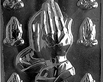 Assorted Praying Hands Chocolate Candy Mold with Exclusive FlavorTools Copyrighted Chocolate Molding Instructions R031