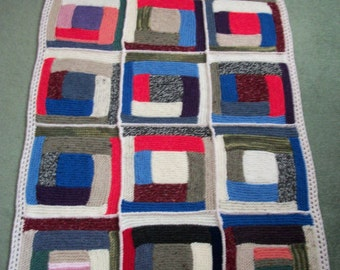 """Log Cabin Patchwork, 47"""" x 28.25"""", Hand Knitted, Lap Blanket, Geometric Blanket, Rustic Blanket, Play Mat, Car Blanket, Fathers Day Gift"""