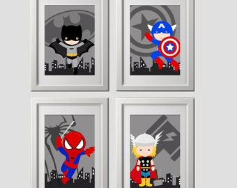 Beau Superhero Wall Art PRINTS, Super Hero Wall Decor, Set Of 4, 8x10 Inch