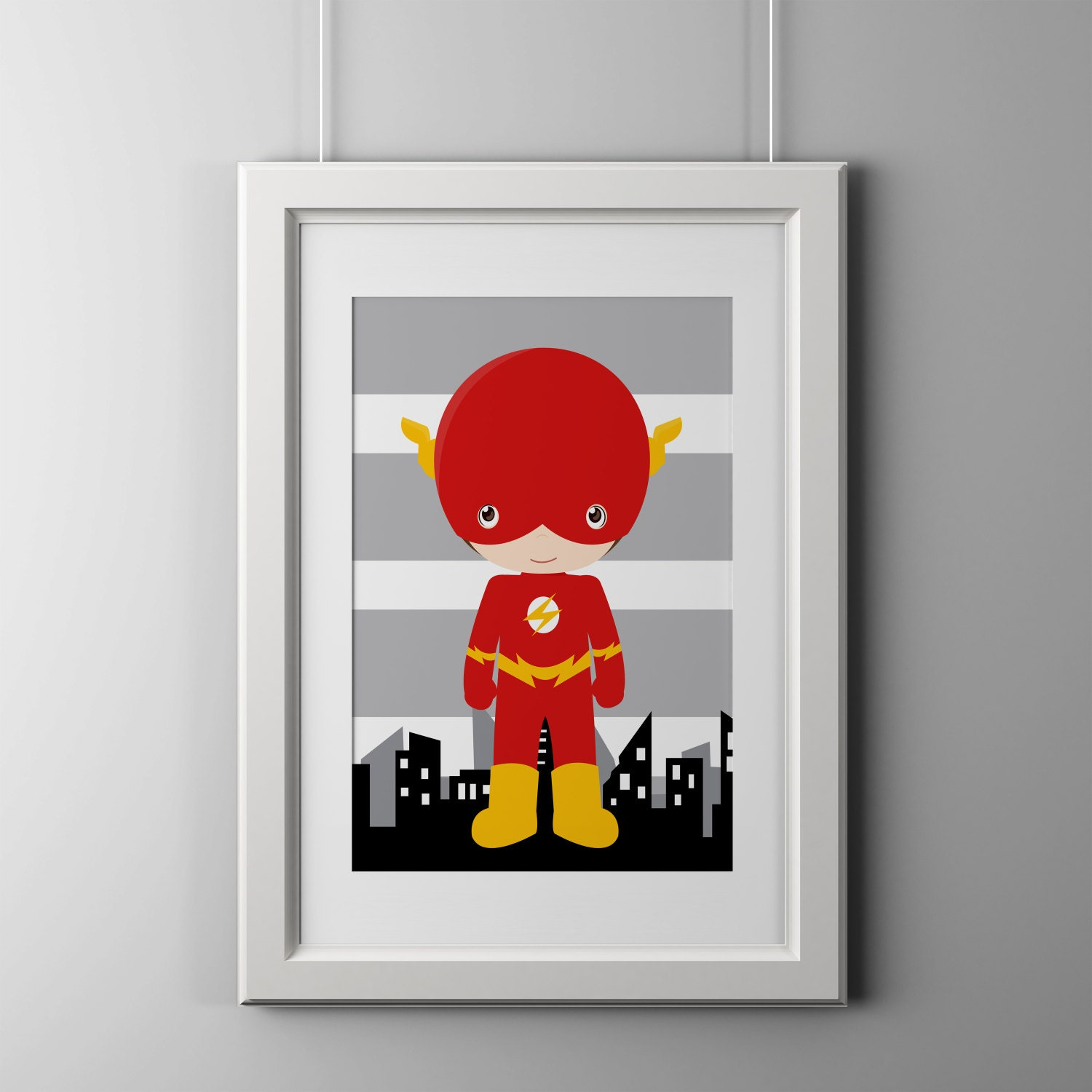 flash superhero wall decor prints superhero wall art 8x10. Black Bedroom Furniture Sets. Home Design Ideas