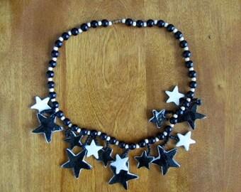 """Handmade/Vintage Papier Mache """"Seeing Stars"""" Necklace"""