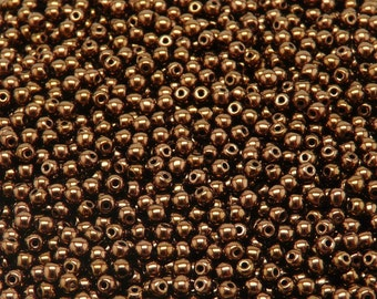 100pcs Czech Pressed Glass Beads Round 3mm Jet Bronze Luster