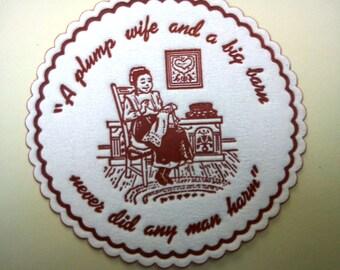 60s Coasters / 60s Ephemera / Vintage Coasters /Scrapbooking/ Plump Wife and A Big Barn