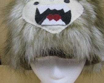 Long Brown Two Toned Faux Fur with Yeti Face Hat with Fleece Lining