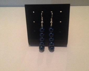 Metallic blue beaded earrings