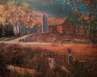 Pheasants on the farm puzzle picture
