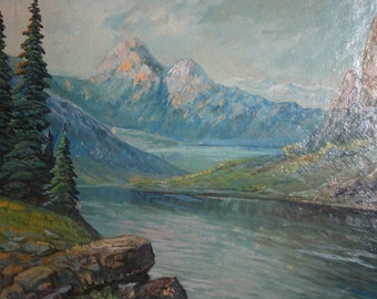 Antique Oil Painting Mountain River Landscape