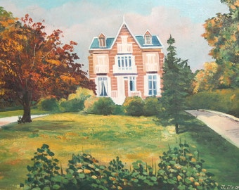 1995 Landscape oil painting house signed