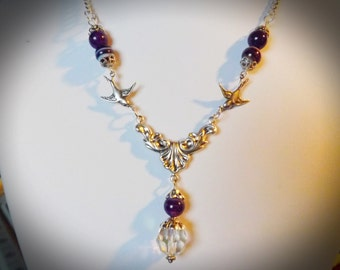 Purple Swallow Necklace