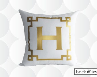 Monogram Throw Pillow Cover -  Gold or Silver - Chinoise Greek Monogram Pillow Cover