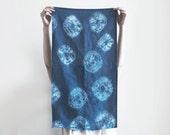 Indigo Shibori Tea Towel, 100% Linen - Handmade and Hand-Dyed Dish Towel - Tie-Dye Dish Cloth - Linen Dishtowel (Made to Order)