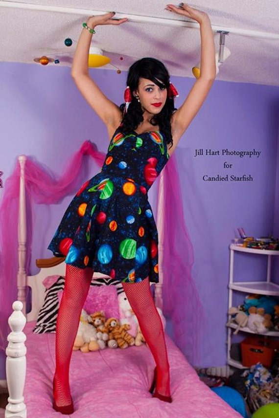 Outer space planet dress by rebeccasdorkydesigns on etsy for Outer space clothing
