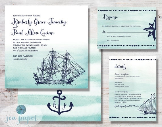 Nautical Wedding Invitation Printable DIY Set: Watercolor, Aqua/Navy Blue, Ships and Anchors Invite, RSVP and Details