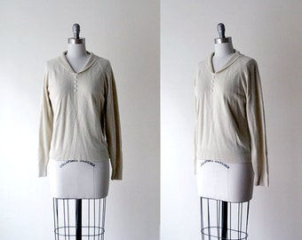 1950's beige sweater. 50's large top. cream sweater. collared top, pearl buttons